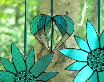 Stained Glass  Heart Turquoise, Stained glass suncatcher, Heart Ornament,Bevel Heart, Turquoise Heart, Heart Suncatcher, Wedding Gift