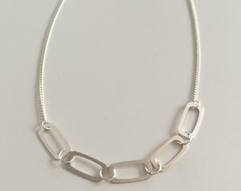 Five rectangles, statement necklace, bib necklace, sterling silver