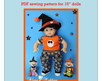 """15"""" Doll Clothes PDF Sewing Pattern #1003 - Halloween Skull Costume"""