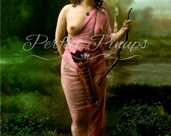 Beautiful Topless Woman - Color Risque Pin Up, Antique Home Decor, Vintage French Nude Photograph, Postcard, Photography, Pinup, Paris -7202