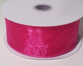 Wired Edge Organza Ribbon - Hot Pink - 10 Yards