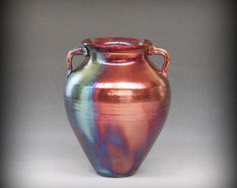 Rku Vase with Handles in Metallic Iridescent Colors