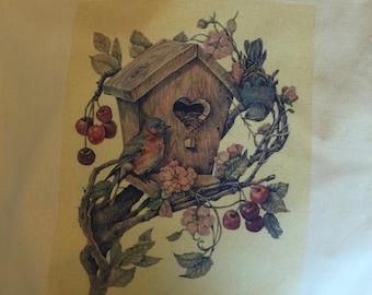 Yellow tote bag 100% cotton birdhouse with birds
