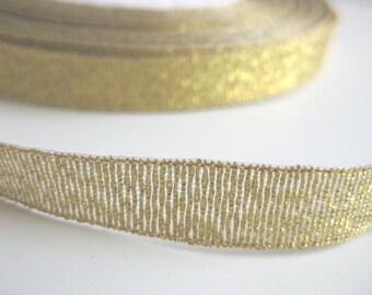 """Gold Metallic Tinsel and Rayon ribbon - 3/8"""" - 10 mm"""