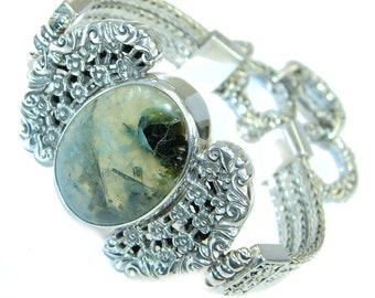 Moss Prehnite Sterling Silver Bracelet - weight 40.30g - dim 7 8 inch - code 17-paz-16-36