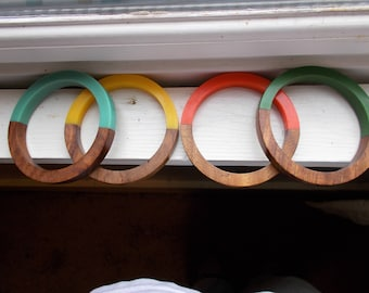 Set of Four 1960's lucite and wood bangles