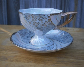 Antique Elegant Japanese Porcelain Cup & Saucer Set