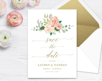 Peach Blush Floral Save the Date Template, Printable Save the Date Card, Wedding Save the Date, Editable Text, 5x7, Peach Gold, VW27