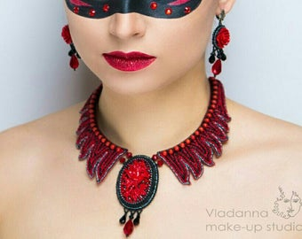 Flamenco, Red Rose Necklace, Red Coral, Flame Set, Red Black, Fire, Ukrainian Jewelry, Luxury embroidery, Exclusive Jewelry, Pandaknit