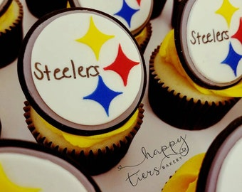 Steelers Cupcake Toppers - 1 dozen
