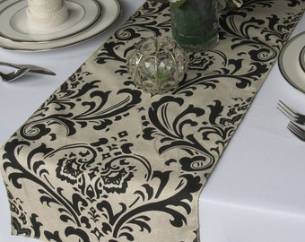 Traditions Black on Linen Damask Wedding Table Runner