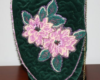Hand Beaded Purse Lavender Flowers on Green Velour