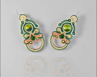 Handmade earrings, soutache earrings, long earrings, light earrings, pastel earrings, soutache jewelry, gift for her Gwanwyn