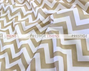 CLOSEOUT FABRIC - Chevron Poly ZigZag Print Dress Apparel - Khaki - 1.75 Yard