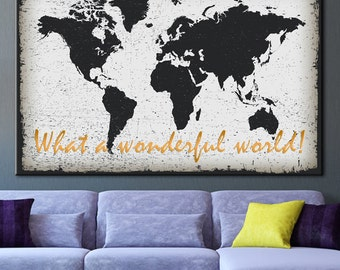 World map printing etsy world map printing on canvas map poster large map of art black gumiabroncs Image collections
