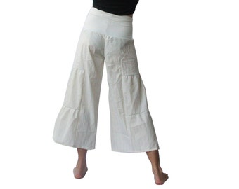 Hippie Chic Bloomers - High Waist, Subtle Sparkle, Off White, Foldover Waist, Ruffled, Tiered, Capri Pants