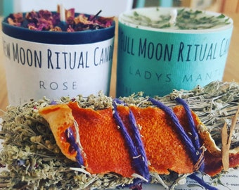 Moon Candles / New Moon Candle / Full Moon Candle / New Moon Ritual / Full Moon Ritual / Smudge / Ritual Candle / Moon Set / Ritual Kit /