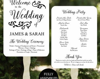 Wedding Program Fans Printable or Printed/Assembled with FREE Shipping - Swirl Collection