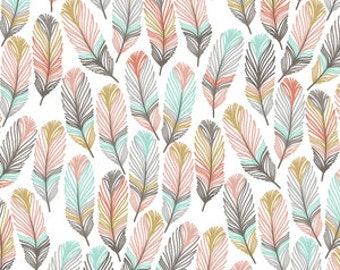 Baby Bedding Crib Bedding - Pink, Gold, Mint Feathers