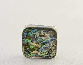 Abalone Pendant, Shell Drop, Square Diamond Shape, 15mm, One