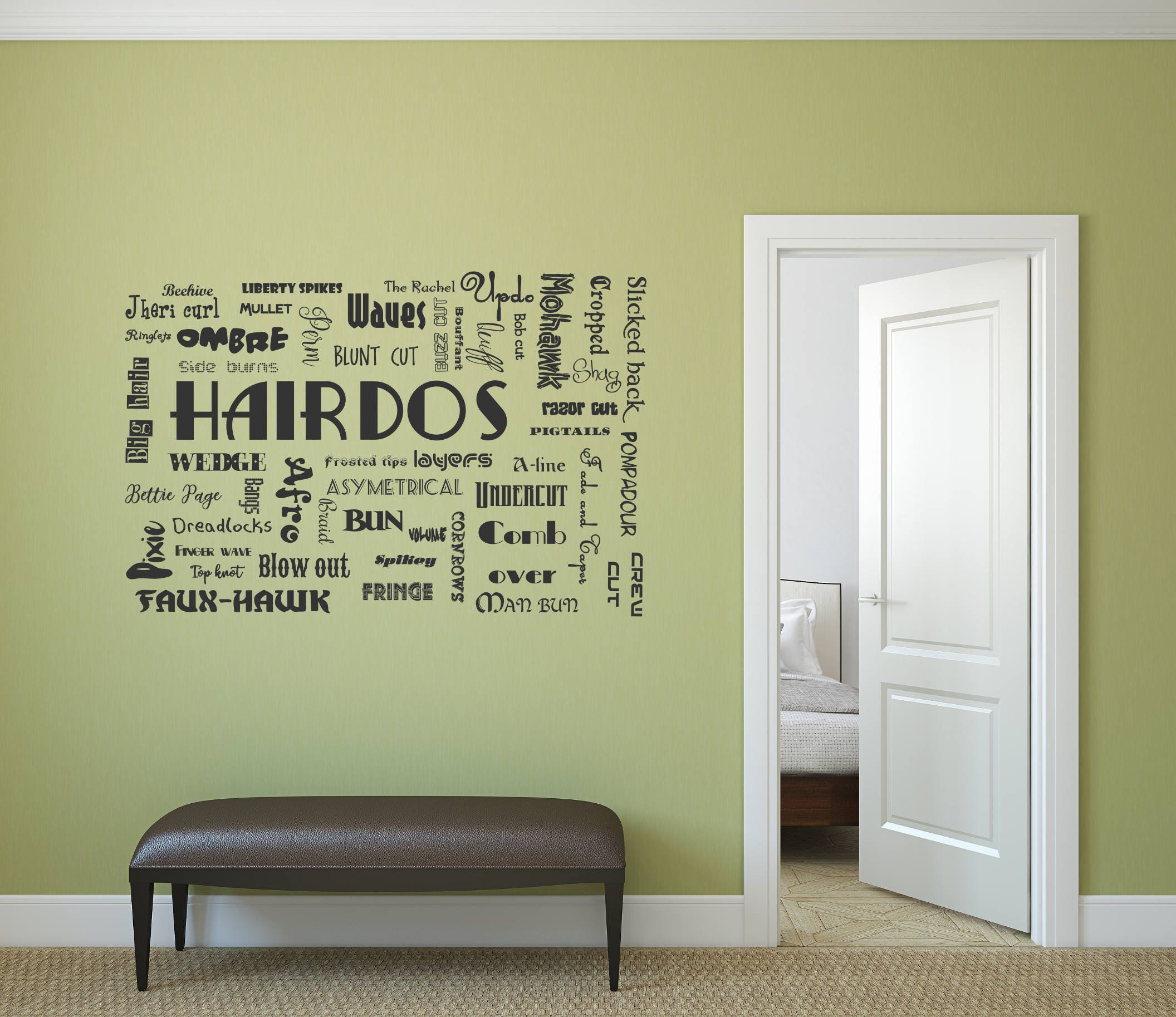 hairdo decal, hairdo wall decal, hair salon decor, hair salon wall ...