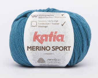 Katia Sport Merino Wool - blue green collar No. 45