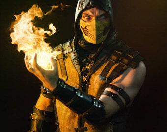 Scorpion's mask, Scorpion, Mortal Kombat X, Cosplay, Halloween, MK, MKX, Costume, Fighting, Mask