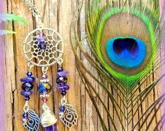 Dream Catcher Necklace; Amethyst Necklace; Purple Necklace; Boho Necklace; Hippie Necklace; Bohemian Necklace; Australian Seller
