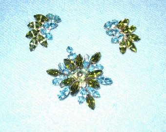 Reduced Regency Flower Pin & Earrings of Aquamarine and Peridot Marquis Stones - item 988, Jewelry