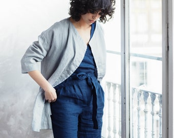 Linen coat ROTTERDAM / Washed and soft linen wrap coat / Short linen jacket available in 34 colors