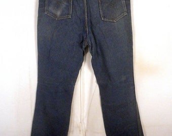 vtg 70s American Heritage USA made Denim Jeans boot cut indigo 34 X 34