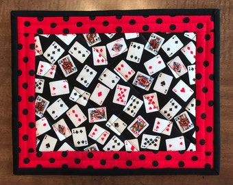 Quilted mug rug, playing cards, snack mat, candle mat, mini-placemat, Quiltsy handmade, black and red, Item #338