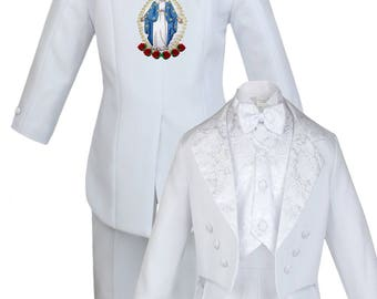 New Boys WHITE Christening 1st Communion 5 pieces Tail Suit Tuxedo BY011 Blue Virgin Mary