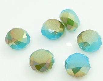 10 Blue Crystal and bronze highlights, faceted 6mm flat shuffleboard beads