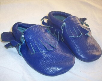 Royal Blue Leather Baby Moccasins