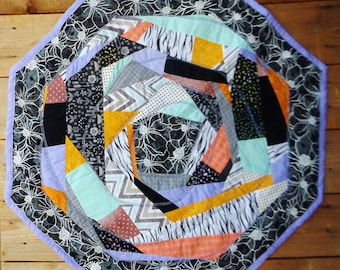 Crazy quilt table topper