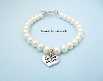 Grand Mother Pearl & Charm Bracelet-Grand Mother gift-Grand Mother bracelet-Grand Mother jewelry-Bridal shower gift-Wedding shower gift,B275