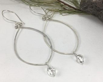 Large Herkimer Diamond Loop Earrings - NY Herkimer Diamond Jewelry - Herkimer Earrings - Herkimer Diamond - Herkimer Jewelry