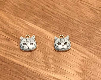 Gold Plated White and Black Cat Enamel Pendant Charms 13mm x 13mm