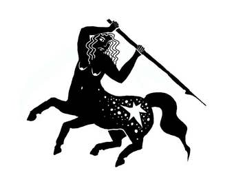 Centaur Warrior Ink Drawing Digital Art print