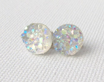 Druzy stud earrings / faux druzy / Aurora borealis / AB / girlfriend gift / gift for her / hypoallergenic earrings / surgical steel