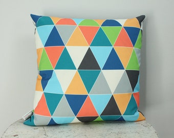 Pillow cover triangle geometric 18 inch 18x18 modern hipster accessory home decor nursery baby gift present zipper canvas ready to ship