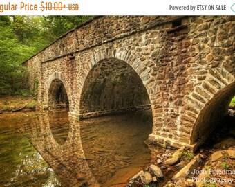 SALE 20% Off Historic Stone Bridge and Reflection Landscape Photograph Bowman's Hill Wildflower Preserve Bucks County Pennsylvania Earth Ton