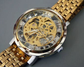Luxury Mechanical Wrist Watch, 44MM Gold link wristband, Automatic Watch, Men's Watch, Gold & Silver Watch, Item MWA224