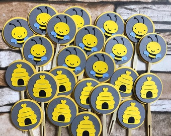 12 Bumble Bee Cupcake Toppers, Bee Birthday Party cupcake toppers, Bee Baby Shower Cupcake toppers