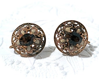 Vintage Clip Earrings Czech Jewelry Amber Rhinestone Earrings VA-145