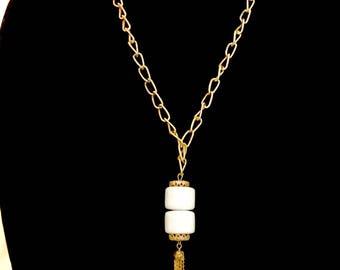60s Gold Chain with White Bead tassel Pendant   GJ2950