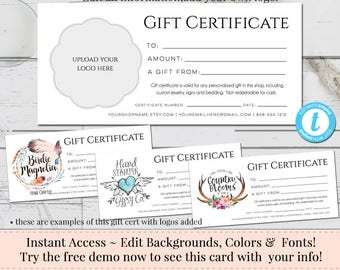 gift certificate add your logo printable gift cert diy gift certificate instant download business templates shop voucher printable