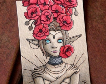 ACEO Original Fantasy Art- Needles - Watercolor and Ink ACEO Painting by Jessica Rohr - Fantasy Elf Art