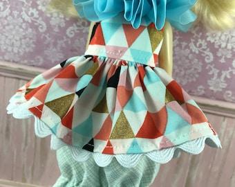 SALE Blythe Dress & Bloomer Set - Teal and orange Triangles